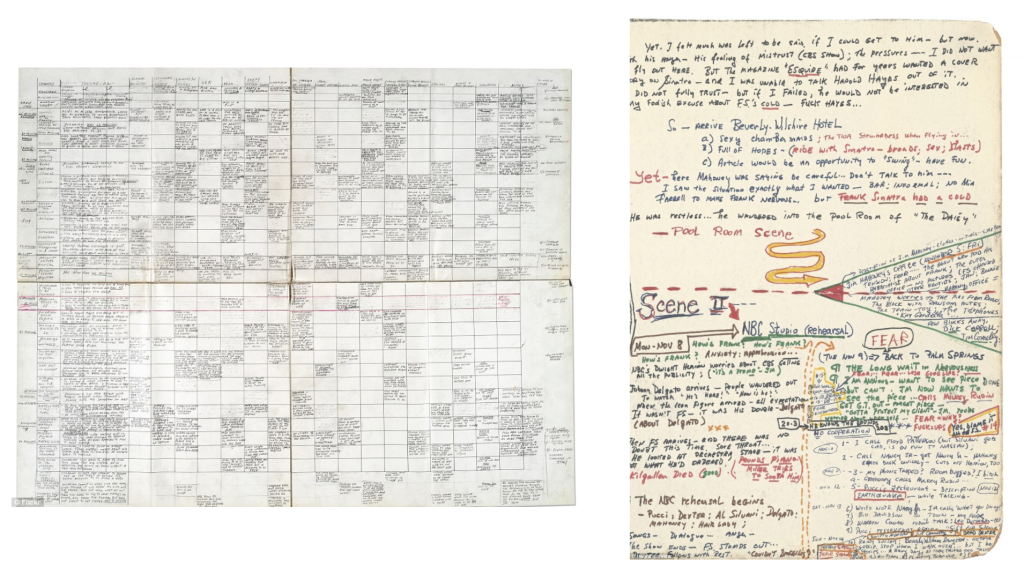 Writing as Thinking Tool (left: Joseph Heller's outline for 'Catch-22' // right: Gay Talese's ideas for 'Frank Sinatra Has a Cold') [source: http://dailym.ai/1rNUCNG]